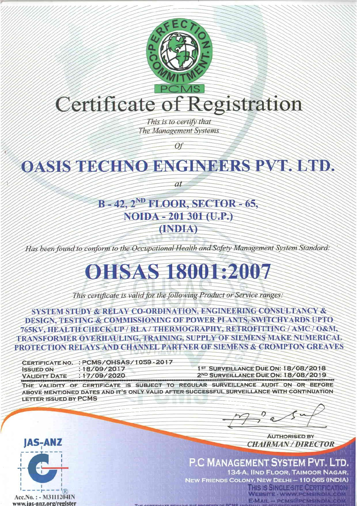 Certifications Oasis Techno Engineers Pvt Ltd